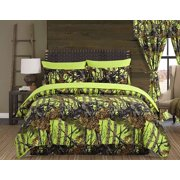 Regal Comfort The Woods Lime Green Camouflage King 4 Piece Premium Luxury Comforter, Bed Skirt, and 2 Pillow Shams Set - Camo Bedding Set For Hunters Cabin or Rustic Lodge Teens Boys and Girls