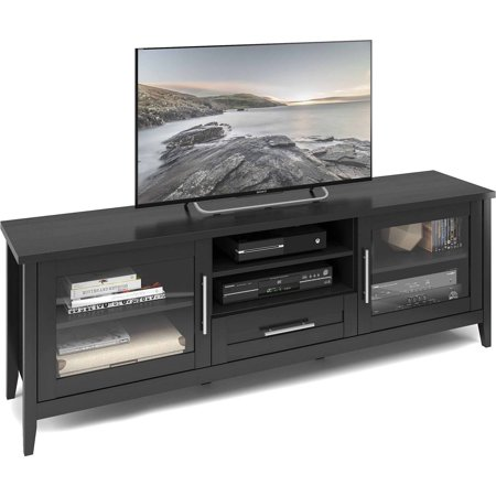 CorLiving TJK-604-B Jackson Extra Wide TV Bench in Black Wood Grain Finish for TVs up to 80″
