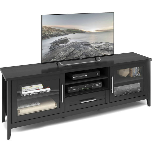 CorLiving Jackson Extra Wide Black Wood Grain TV Bench, for TVs up to 80""