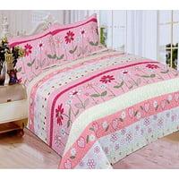 Fancy Linen 3pc Full Bedspread Quilt Girls Flower Pink White Green Hot Pink New