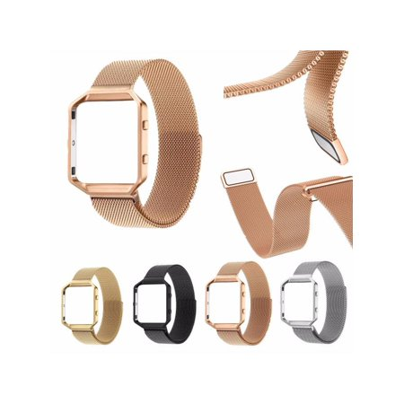 Replacement Metal Watch Band Strap Wristband + Stainless Steel Frame for  Fitbit Blaze Fitness Tracker - Rose Gold / Sliver