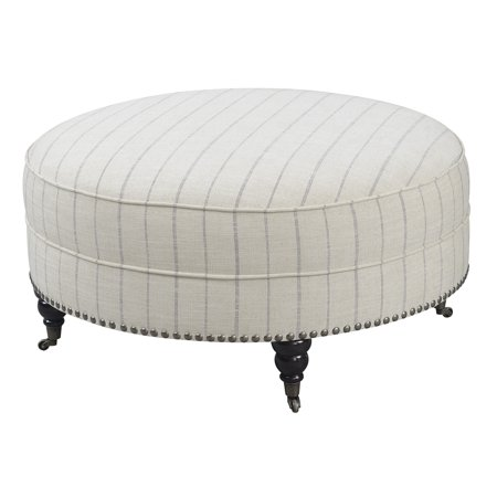 Cushioned Ottoman - Emerald Home Brookmonte Off White Stripe Ottoman with Comfortable Cushion, Nailhead Trim, And Casters