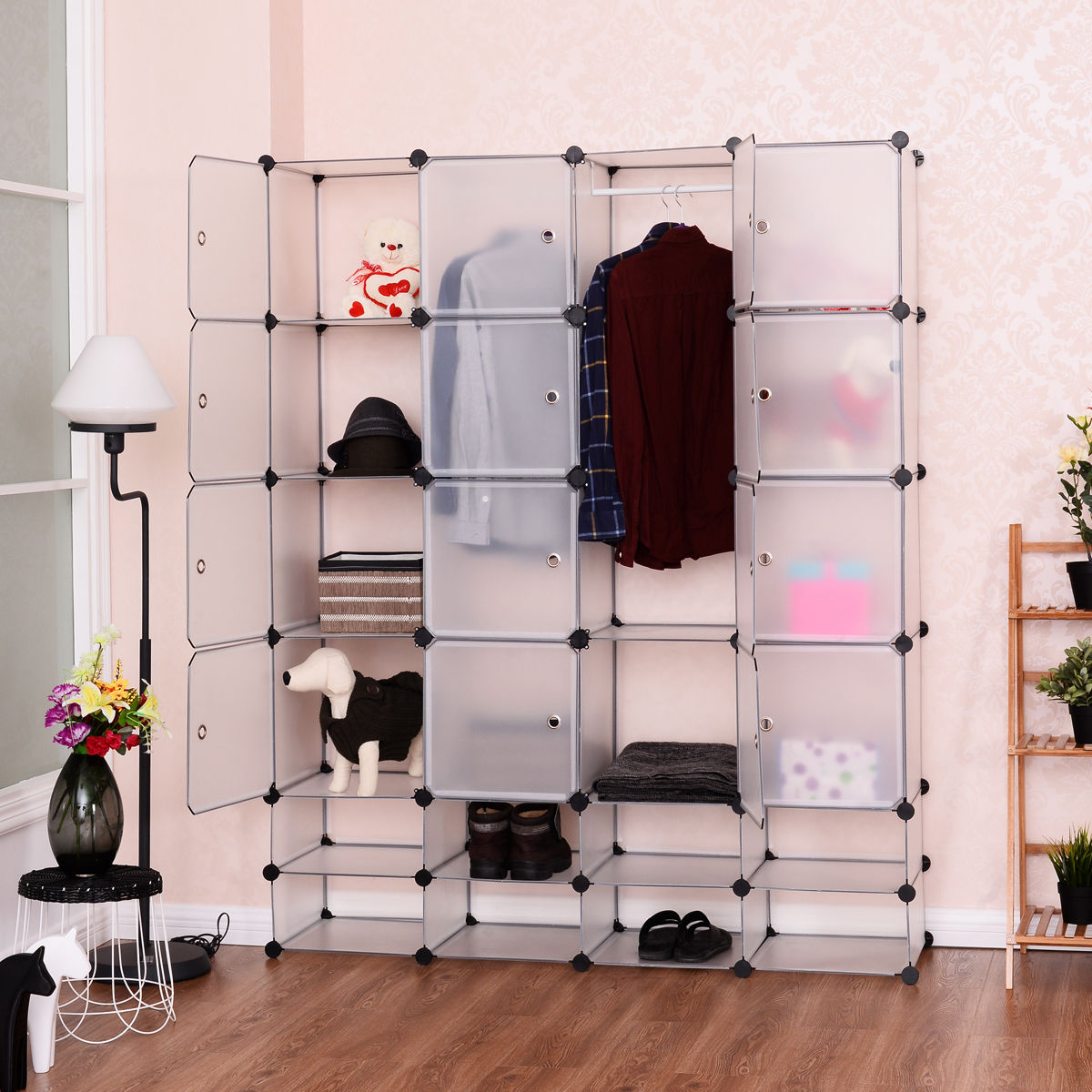 Costway DIY 16+8 Cube Portable Clothes Wardrobe Cabinet Closet Storage  Organizer W/Doors
