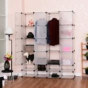 Costway Diy 16 8 Cube Portable Clothes Wardrobe Cabinet Closet Storage Organizer W Doors