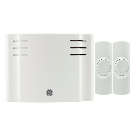 GE Wireless Doorbell Kit, 8 Chime Melodies, 1 Receiver, 2 Push Buttons, Battery-Operated, (6 White Door Chime)