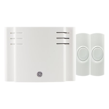 GE Wireless Doorbell Kit, 8 Chime Melodies, 1 Receiver, 2 Push Buttons, Battery-Operated, 19297
