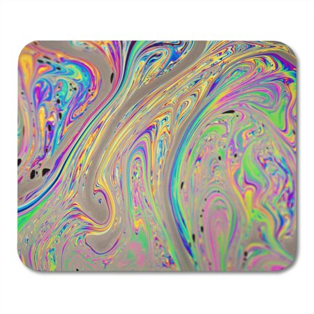 LADDKE Orange Artistic Beige Mixture Macro Closeup of Colorful Soap Bubble Solution Green Abstract Blended Mousepad Mouse Pad Mouse Mat 9x10