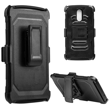 Insten Mesh Hybrid Hard PC/TPU Dual Layer Case Skin with H Style Stand For LG Stylo 3 - Black