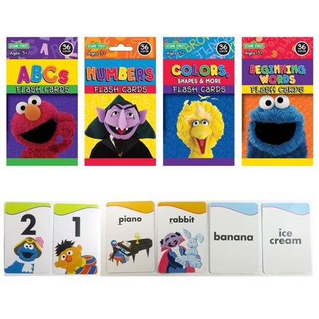 Atc Cards (4 Sesame Street Flash Cards Beginning Words Numbers Colors Shapes Alphabet ABC !)