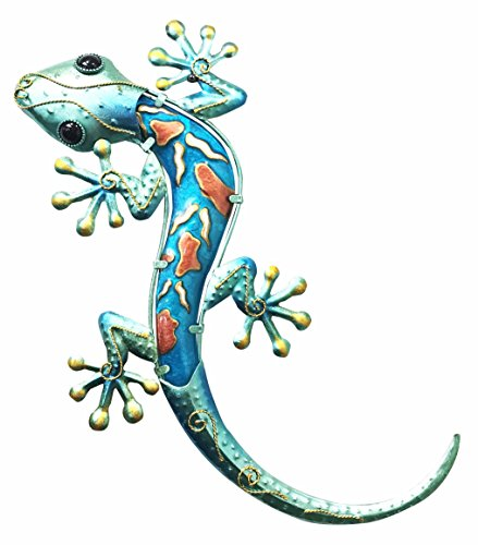 Crawling Green Lizard Gecko Copper Metal With Glass Wall Artwork Plaque Decor 3D Figurine by Gifts & Decor