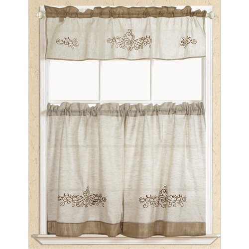 Rustic Embroidered Scroll Tier And Valance Kitchen Curtain