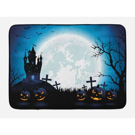 Halloween Bath Mat, Spooky Concept with Scary Icons Old Celtic Harvest Figures in Dark Image Holiday Print, Non-Slip Plush Mat Bathroom Kitchen Laundry Room Decor, 29.5 X 17.5 Inches, Blue, - Halloween Celte