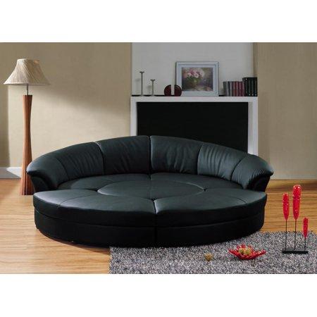 Bonded Leather Circular Sectional Sofa Set 5Pcs VIG Divani Casa Circle Black