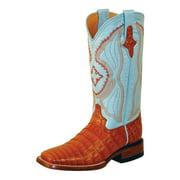 Ferrini Western Boots Womens Caiman Belly Gator Cognac Blue 82493-02