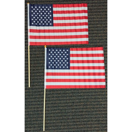 12x18 American Flag on Stick United States USA Banner Pennants Set of 2