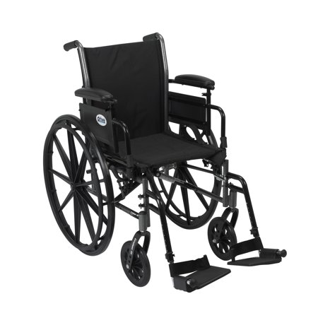 Drive Medical Cruiser III Light Weight Wheelchair with Flip Back Removable Arms, Adjustable Height Desk Arms, Swing away Footrests, 20""