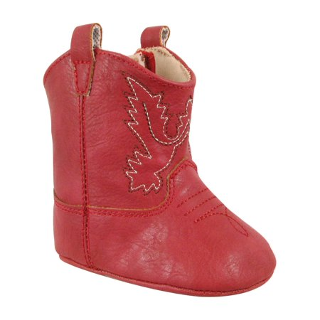 Baby Deer Girls Red Embroidery Piping Soft Sole Western Boots Crepe Sole Western Boots
