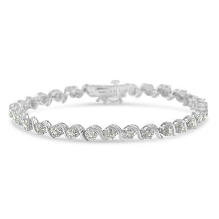 (Sterling Silver 1 CTTW Rose Cut Diamond Spiral Link Bracelet (I-J, I3))