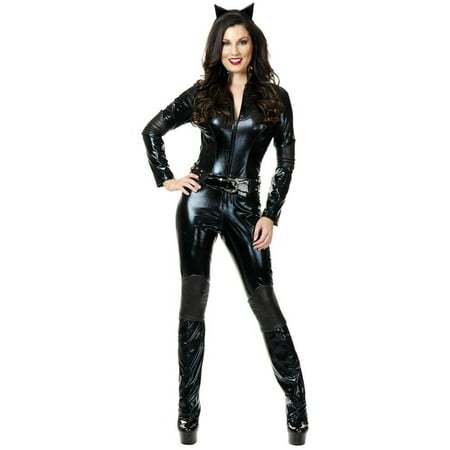 Womens  Wet Look PVC Black Catsuit Too  Dominatrix Costume (Womens Cat Suits)