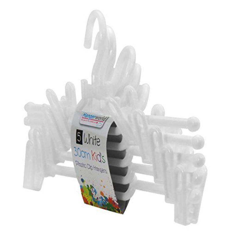 Hangerworld 12 inch White Plastic Coat Hangers with Pant/...
