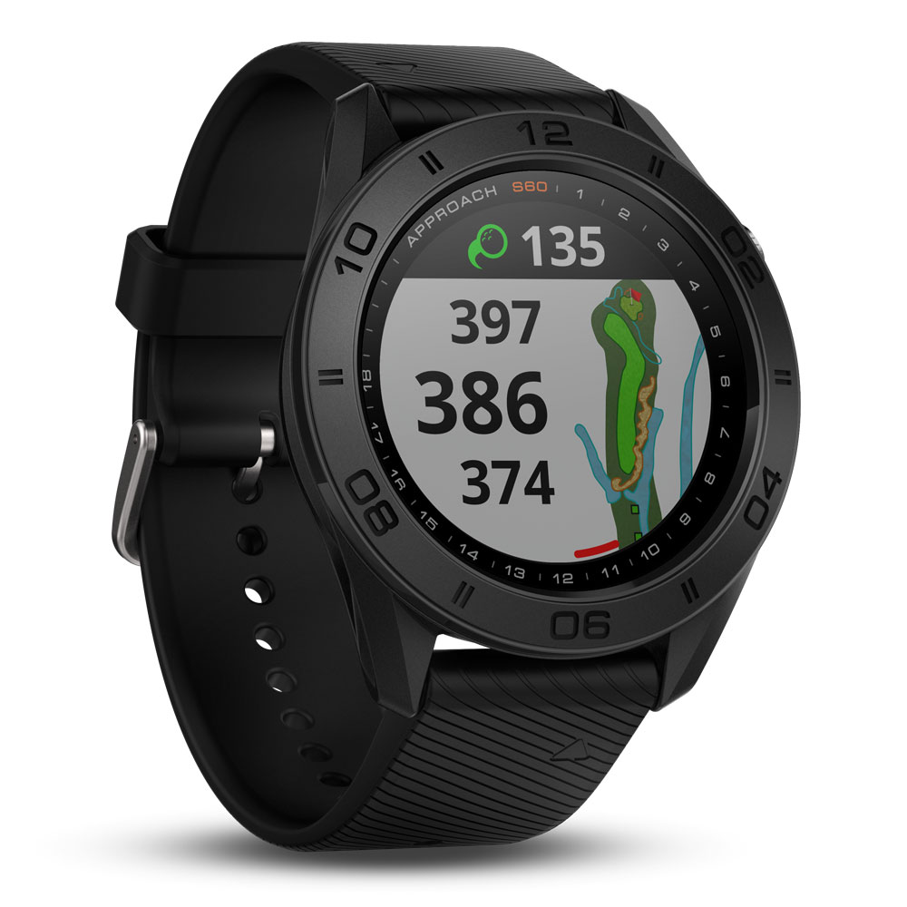 Approach® S60 Golf Watch, Black with Black Band