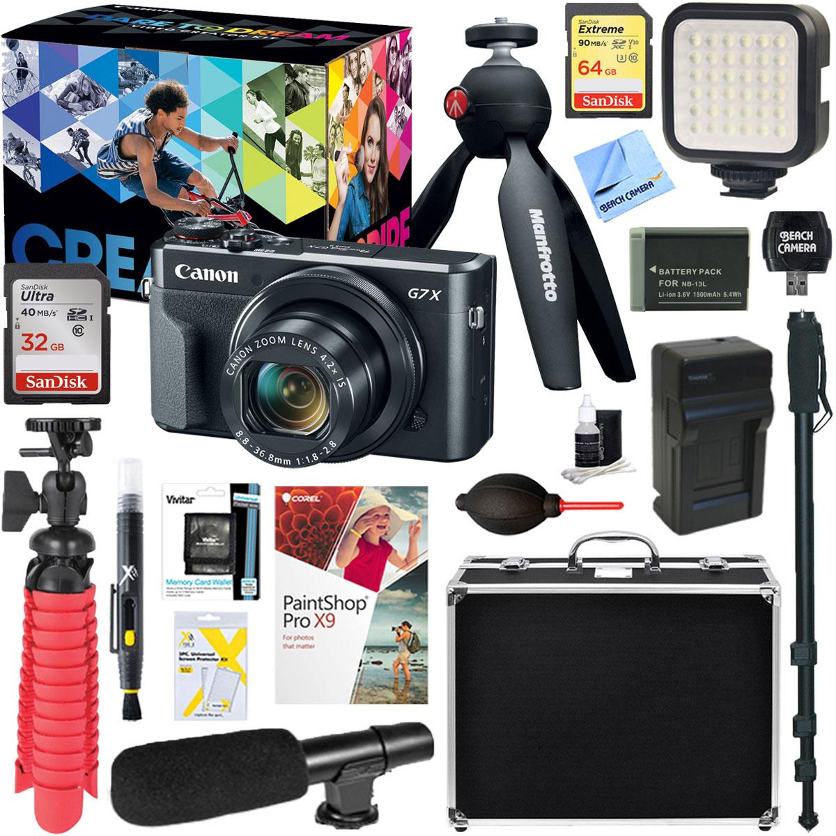 Canon PowerShot G7 X Mark II 20.1MP 4.2x Optical Zoom Digital Camera Video Creator Kit + Universal Microphone & 64GB Accessory Bundle