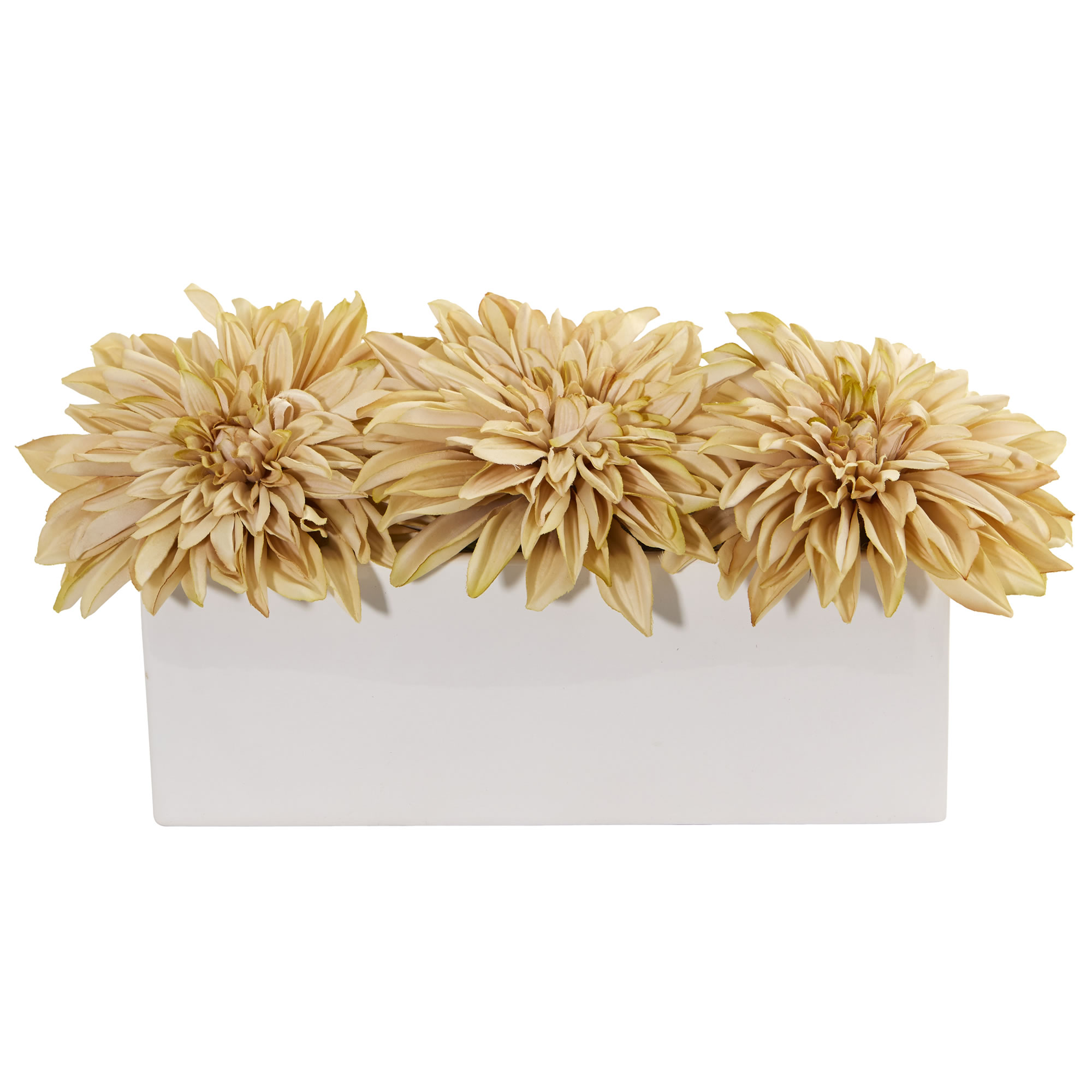Nearly Natural Dahlia Artificial Arrangement in White Planter