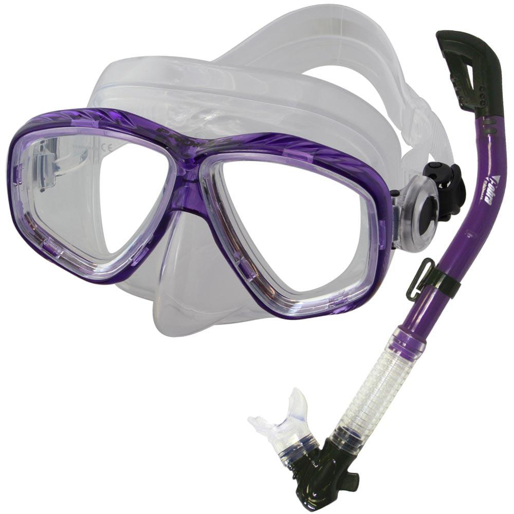 PROMATE Snorkeling Scuba Dive DRY Snorkel Mask Gear Set, Bk Ti by