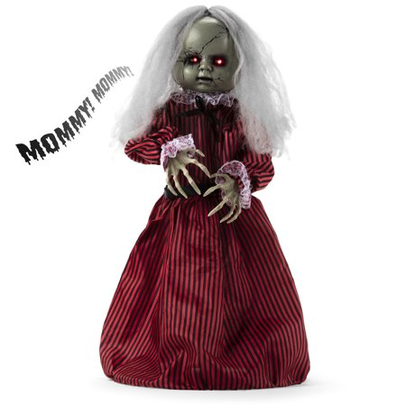 Best Choice Products Haunted Holly Animated Roaming Doll Halloween Decoration Prop Display w/ Poseable Arms, Light-Up Eyes, Sounds, Phrases, Activated by Motion, Sound, or Vibration ()