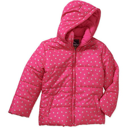 Climate Concepts Foil Heart Print Puffer Jacket with Hood (Little Girls & Big Girls) (Girls Winter Clothes Sale)