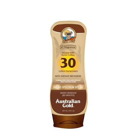 Australian Gold SPF 30 Lotion Sunscreen w/ Instant Bronzers, 8 FL