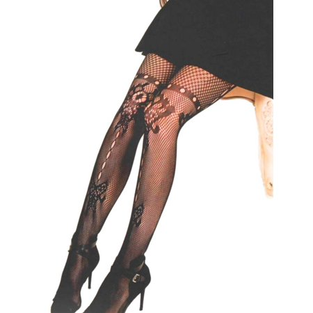fb8dd3eaaaf Killer Legs - Killer Legs Plus Size Fishnet Pantyhose Butterfly and Floral  Inkblot 168YD065Q Black Yelete Queen - Walmart.com