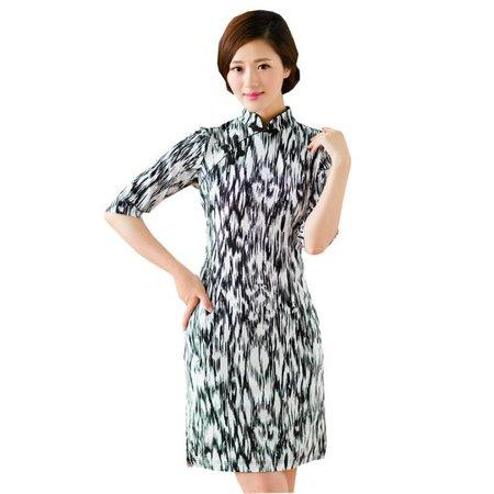 480b5fa3e 2 For 1 - Women Special 1/2 Long Sleeve Modern Mandarin Chinese Cheongsam  Qipao Sheath Short Dress( Black/white water flow prints) - Walmart.com