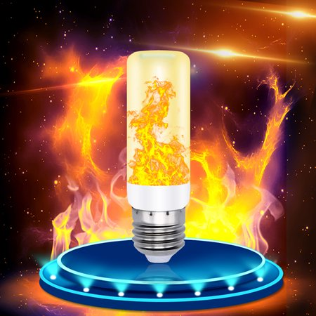 3 Modes E27 LED Flame Effect Fire Light Bulb Flickering Lamp Party Home Room Decor Yellow - Halloween Flickering Light Bulbs