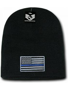 RapDom Thin Blue Line USA Flag Mens Cuffless Beanie [Black]