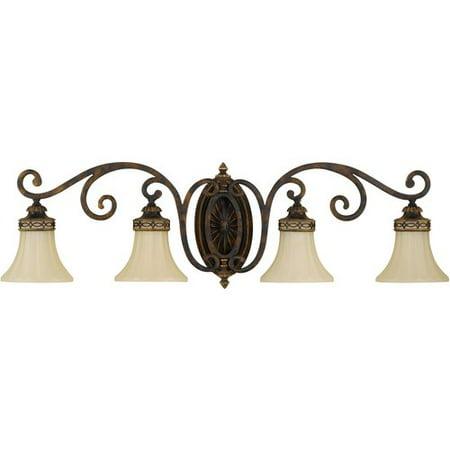 Four Light Walnut English Scarvo Glass Vanity