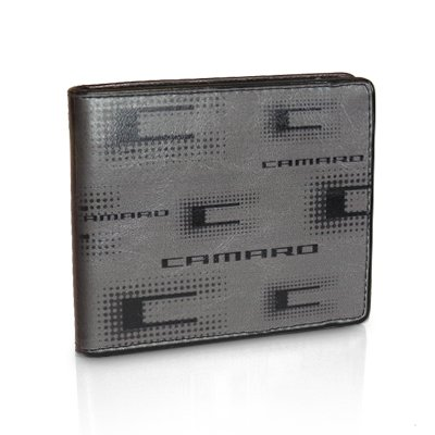 Chevrolet 2010 up Camaro Text Gray Leather Wallet