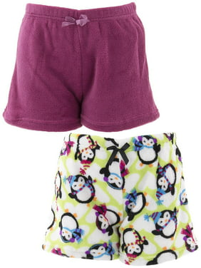 Chili Peppers Girls Penguins 2-Pack Fleece Pajama Shorts