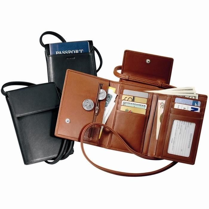 Royce Leather Deluxe Passport Case With Removable Neck/Sh...