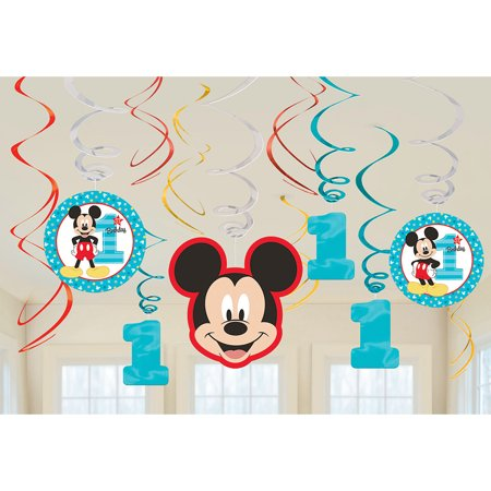 Mickey's Fun To Be One Foil Swirl Decorations (12 - Mickey's Halloween Party Tips Disneyland