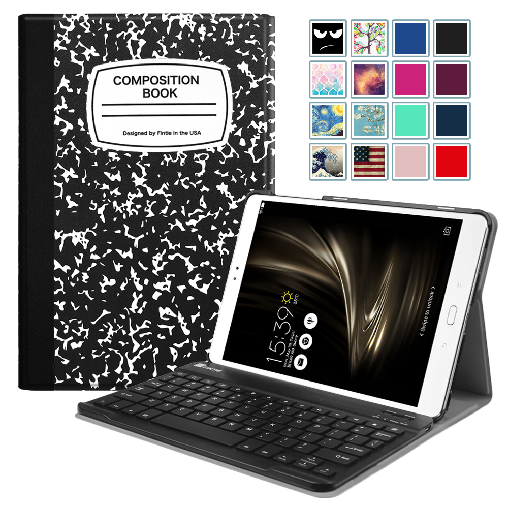 Fintie Keyboard Case for ASUS ZenPad 3S 10 Z500M - Ultra Lightweight Stand Cover w/ Bluetooth Keyboard, Book Black
