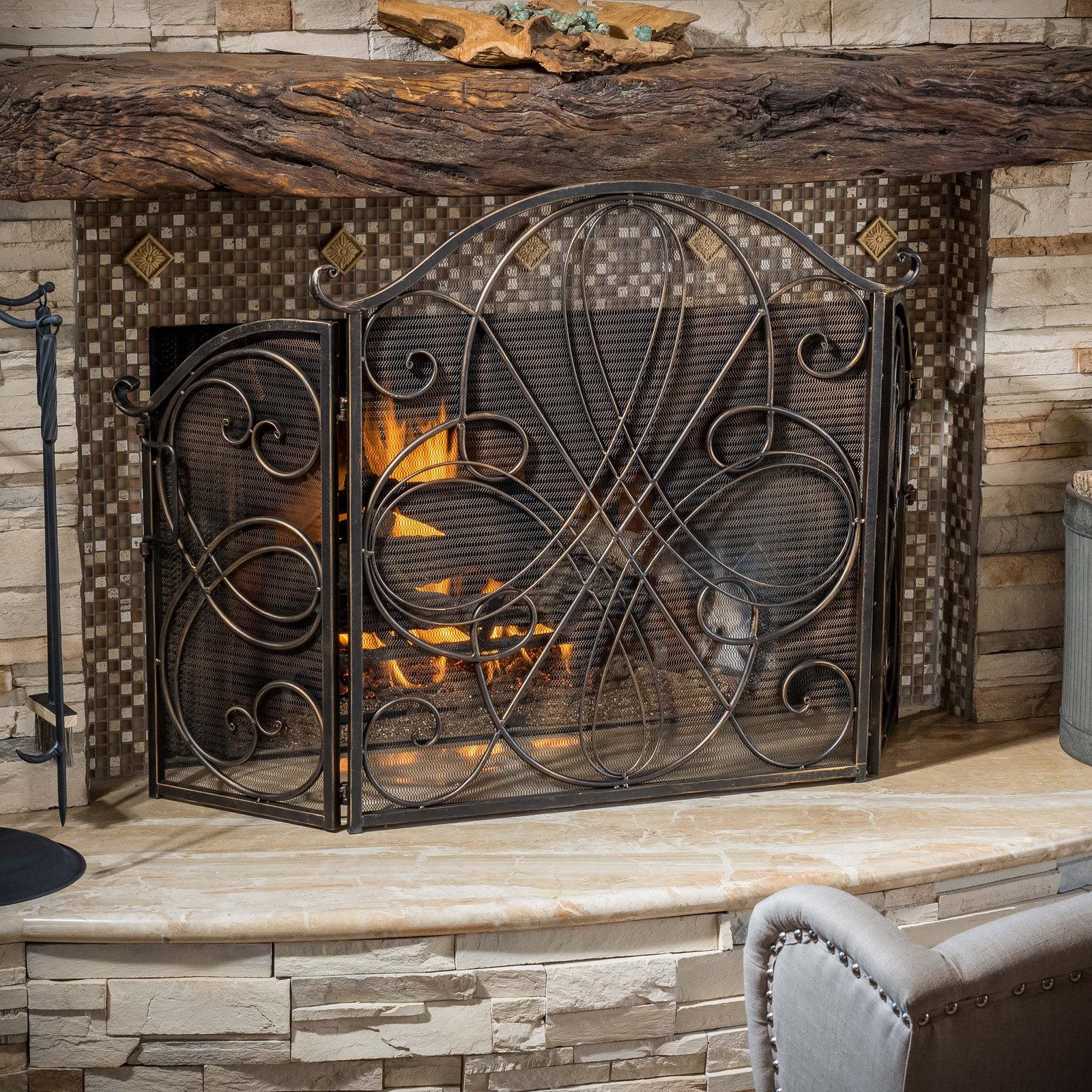 Best Selling Home Decor Oxford 3 Panel Iron Fireplace Screen by Overstock