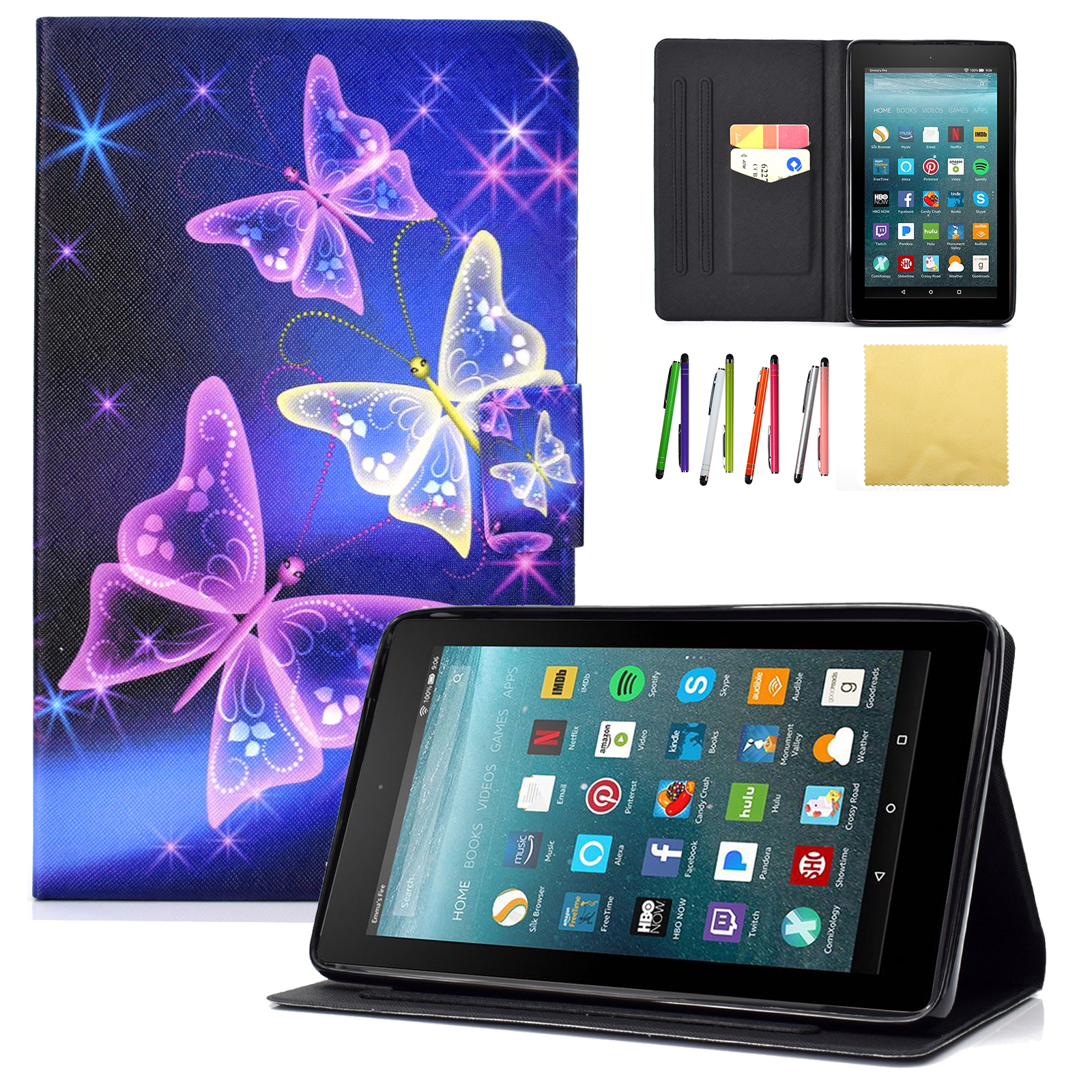 "Kindle Fire 7-inch 2017/2015 Case,Goodest Slim Flip Stand Cover with Magnetic Closure [Card Slot Wallet Case] for Amazon All-New Kindle Fire 7"" 5th Generation /7th Generation, Sparkle Butterfly"