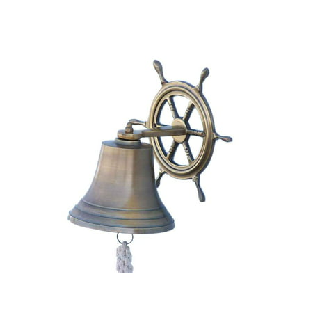 Antique Brass Hanging Ship Wheel Bell 8