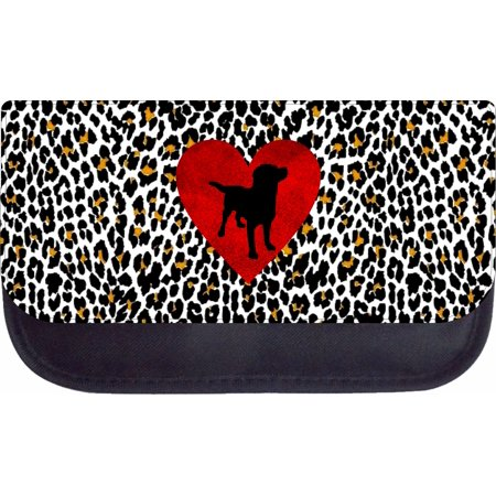 Dachshund Puppy Silhouette on a Red Heart on Leopard Print Design - 5