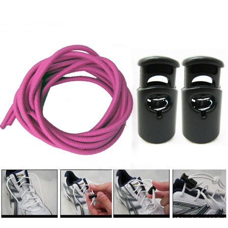 Pink Elastic Shoe Laces Tie Fast Triathlon Marathon Running Run Shoelace Release