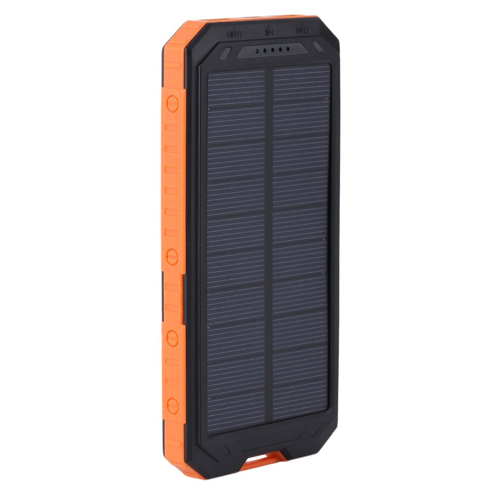 Waterproof Travel Powerbank For Mobile Phone Solar Power Bank 20000mah Dual USB Solar Battery Charger External Battery Pack by