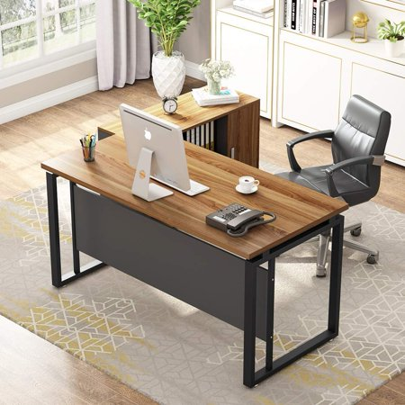 Large Computer Desk And File Cabinet Tribesigns 55 L Shaped Office Writing Table