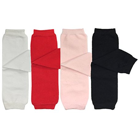 ALLYDREW 4 Pack Baby Leg Warmer Set & Toddler Leg Warmer Set for Boys & Girls - Solid White, Red, Pink, Black