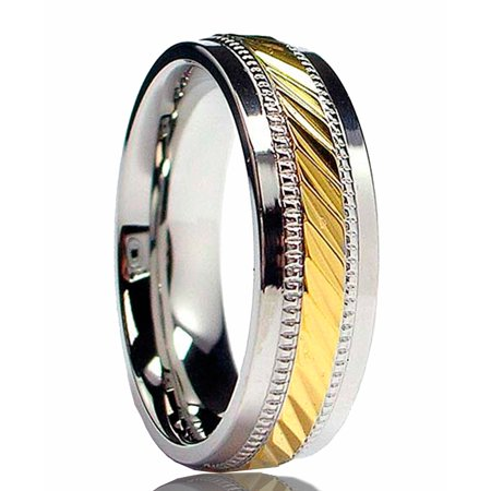 7MM Men's Goldtone Plated Stainless Steel Ring Sizes 7 to 12 ()